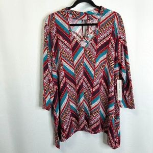 NWT Absolutely Famous Multi-colored Blouse